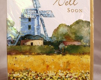 Get Well Soon  Card wiht a Windmill
