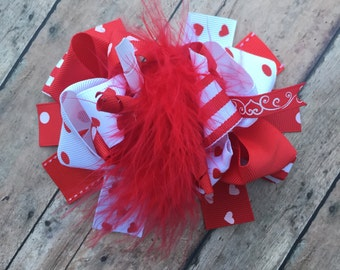 Valentines Day hair bow - Valentines Day bow - Valentines Day - Red and white bow - hearts - Big hairbow - loopy hairbow - OTT Hairbow - Bow