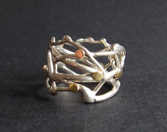 Sterling silver organic branch ring, 18k gold accents, wide band ring size 8.5, contemporary jewelry, mixed metal ring, silver and gold ring