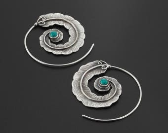 Silver earrings. Indian earrings. spiral earring. Sterling silver feather earrings with genuine turquoise