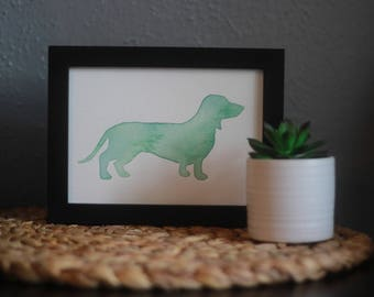Dog Silhouette Custom Hand Painted Watercolor 5X7 inch