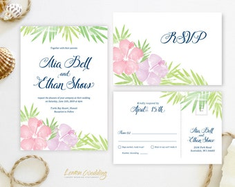 Beach themed wedding invitations printed on shimmer cardstock | Hawaiian wedding invitations and RSVP postcards | luau invitations