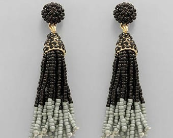 Black & Gray Seed Bead Tassel Earrings