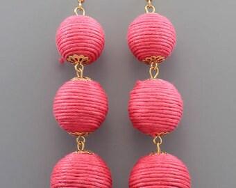 Fuschia 3 Ball BonBon Earrings