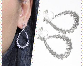 Brutalist drop clip on dangle earrings  7D  Silver Plate Non Pierced Earrings, Comfortable clip on, Bridal Clip on, Wedding Clip on earrings