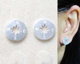 Clip on earrings 14i Brushed Silver Compass Clip on Stud earrings Travel non pierced earrings, Gift For Her, Vacation Clip-ons, nautical