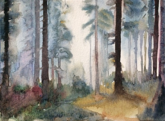 Forest, Misty trees, Misty forest, watercolor trees, tree painting, trees, woodland, trees in forest, Misty landscape, landscape painting