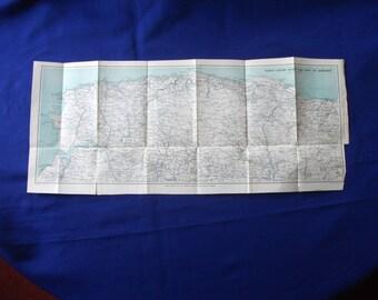 1917 map of  north devon coast antique map   vintage wall decor.