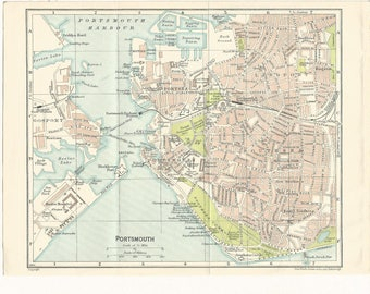 1917 map of portsmouth england antique map  vintage wall decor.