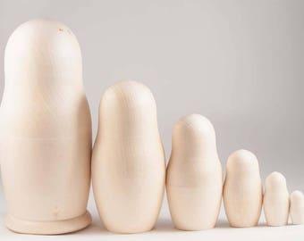 Unpainted Blank Matryoshka Nesting Doll 6 pieces Set