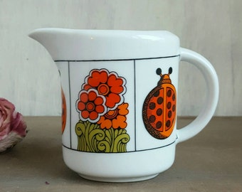 Adorable Psychedelic Creamer with Ladybugs and Flowers, 1960s, in the style of Peter Max or Lionel Kalish, Vintage Kitchen, Retro Dining