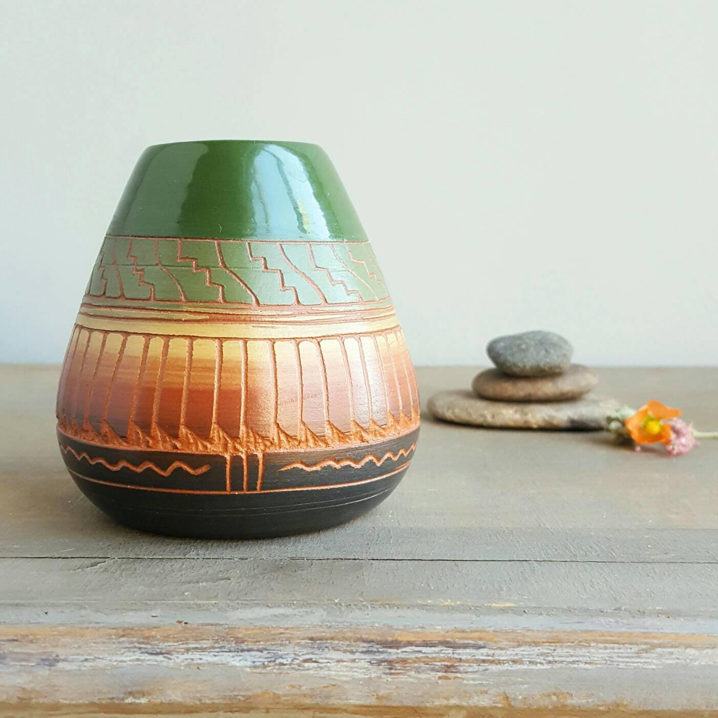 Navajo dine etched pottery pot vintage native american ceramic navajo dine etched pottery pot vintage native american ceramic vase hand painted with colorful glaze and tribal motifs southwest decor reviewsmspy
