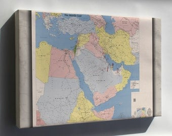Canvas 24x36; Cia Map Of The Middle East 1991