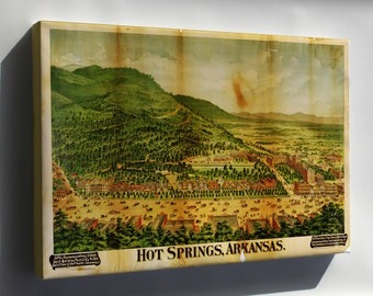 Canvas 24x36; Map Of Hot Springs, Arkansas 1890
