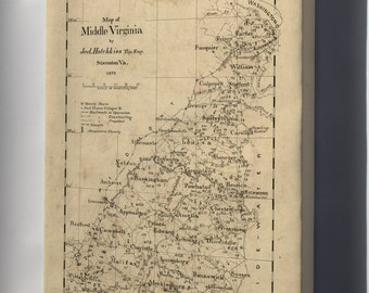 Canvas 24x36; Map Of Middle Virginia 1873