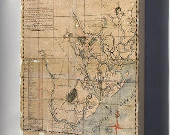 Canvas 24x36; Map Of South Carolina 1771