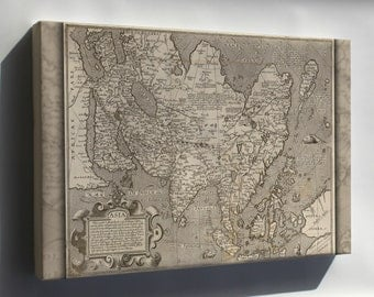 Canvas 16x24; 1600 Map Of Asia; India Japan China Russia