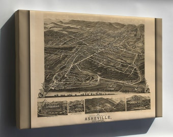 Canvas 16x24; 1891 Birdseye View Map Of Asheville, North Carolina