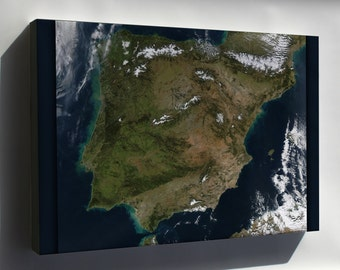 Canvas 16x24; Spain And Portugal Landsat