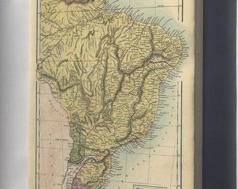 Canvas 16x24; Map Of Brazil, Uruguay, Paraguay & Guayana. 1873
