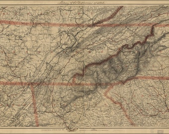 16x24 Poster; Map Of Eastern Tennessee 1865