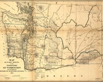 16x24 Poster; Map Of Washington State 1866