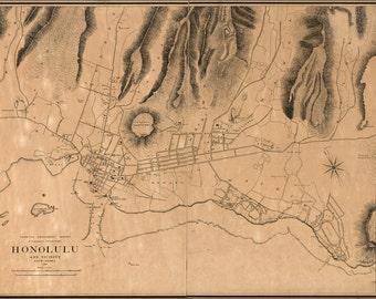 16x24 Poster; Map Of Honolulu Hawaii 1887