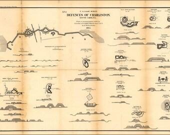 16x24 Poster; Map Defenses Of Charleston, South Carolina 1865