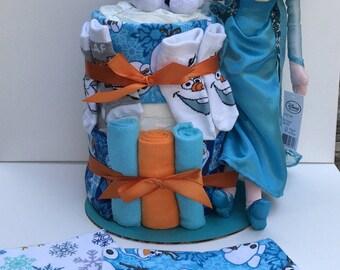 Frozens Olaf Elsa themed Baby Diaper Cake diapercake Shower Gift Centerpiece BONUS 2 Burpcloths