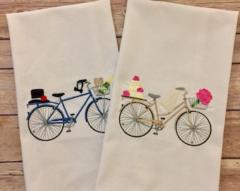 Bride and Groom bike dish towel, wedding kitchen towel, machine embroidered towel, Here comes the bride, groom top hat, wedding day gift