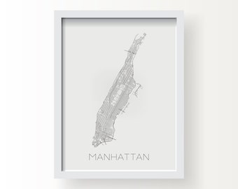 MANHATTAN NEW YORK City Limit Map Print - graphic drawing art poster nyc