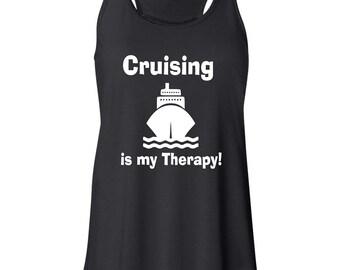 Cruising is my Therapy Ladies Flowy Racerback Tanktop