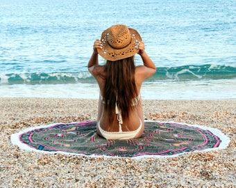 Round Beach Towel With Tassels Round Towels Picnic Blanket Beach Roundie Large Beach Blanket