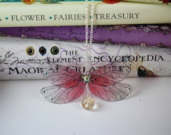 Pretty Fairy Pendant - Gossamer Fairy/Faerie Butterfly Cicada Wing Statement Necklace