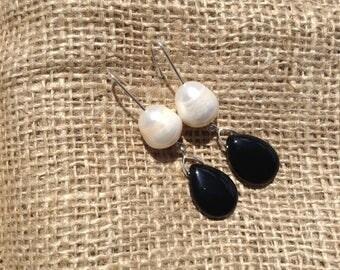 Black Agate and Pearl Earrings