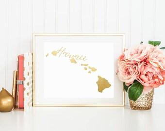 "Hawaii ""Home"" State Foil Prints"
