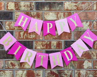 Pink and gold happy birthday banner, 1st birthday banner, Pink and gold birthday, pink and gold banner, pink girl birthday banner