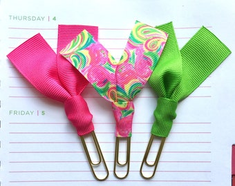 """Lilly Pulitzer """"All Nighter"""", Pink and Green Ribbon Paper Clips - Set of Three - Great for Planners, Notebooks, Bookmarks & More!"""
