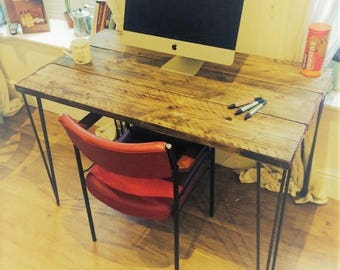 Scaffold board desk with steel hairpin legs