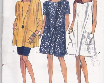 Vogue 8081 Vintage Pattern Womens A Line Tunic Dress, Tunic Top and Semi Fitted Skirt Size 14