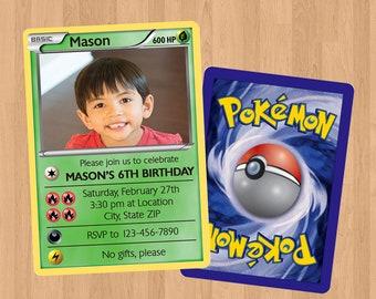 Pokemon Grass Card Birthday Invitation