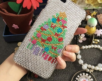 New Happy Christmas Tree Bling Luxury Sparkles Cute Colorized Gems Crystals Rhinestones Diamonds Fashion Lovely Hard Cover for Mobile Phones