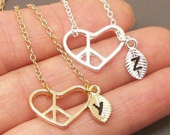 Peace Heart Necklace, Peace sign necklace, Personalized Initial Necklace, Peace Necklace, Heart Necklace, Peace Jewelry, Heart Jewelry NB526