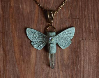 SALE - Green Moth Pendant With Quartz Crystal - moth with shimmering wings