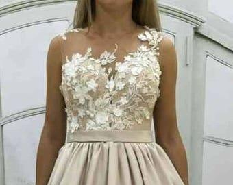 Beige wedding dress etsy beige wedding dress vintage atlas wedding dress with lace corset lace transparent back with sciox Choice Image