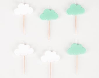 6 candles with cloud design -  Cloud pattern - Cloud party - Baby shower