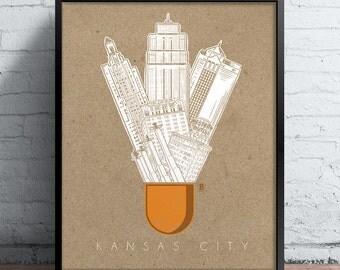Kansas City Icons Screen Printed Poster