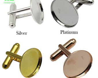 925 Sterling Silver Cufflink Base 18mm Round Frence Cufflink Blanks, 4 Colors available