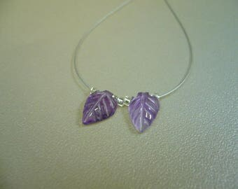 Carved Amethyst Leaf Beads Set Supplies Earrings Necklace Set of 2