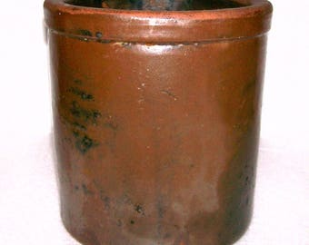 Vintage South Carolina Alkaline Glazed Small Redware Crock Storage Jar Hand Made Thrown Southern Folk Pottery Antique Stoneware